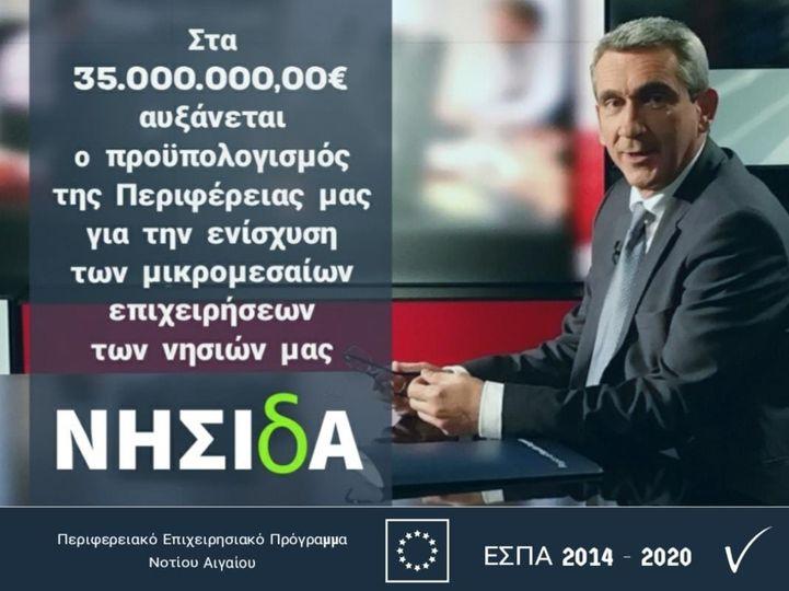 Επιπλέον 5 εκατ. ευρώ  στο πρόγραμμα «ΝΗΣΙδΑ» της Περιφέρειας Ν. Αιγαίου για την στήριξη των μικρών και πολύ μικρών επιχειρήσεων