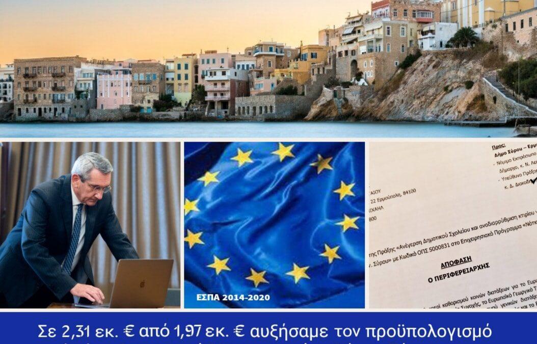 Αύξηση χρηματοδότησης του Δήμου Σύρου, από ευρωπαϊκούς πόρους της Περιφέρειας, για την αποπεράτωση του νέου Δημοτικού Σχολείου και Νηπιαγωγείου  Βάρης